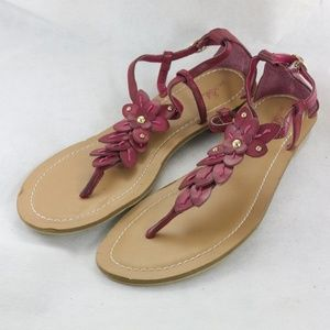 JACLYN SMITH Red Leather Belladonna Thong Sandals